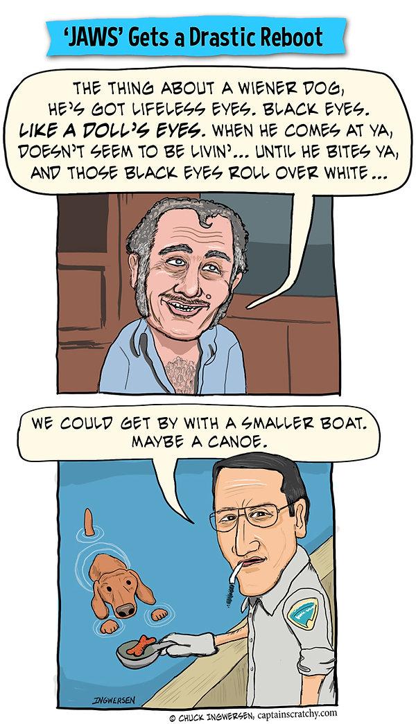 funny wiener dog Jaws parody cartoon