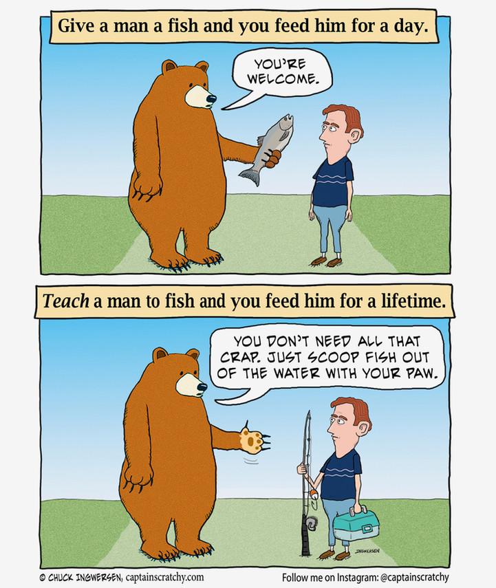 A bear teaches a man to fish