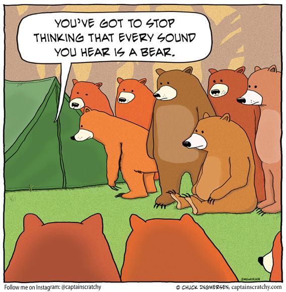 funny cartoons with bears outside a tent