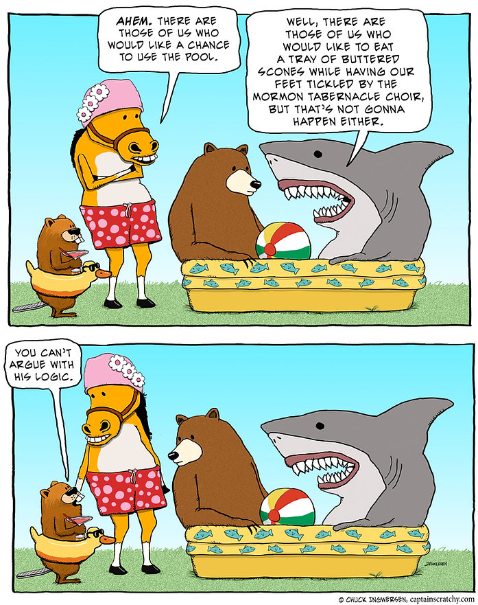 funny animals want some pool time cartoon