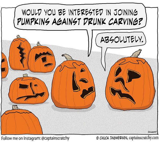 funny pumpkins against drunk carving cartoon