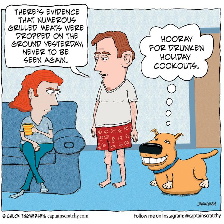 Dog loves drunken holiday cookouts