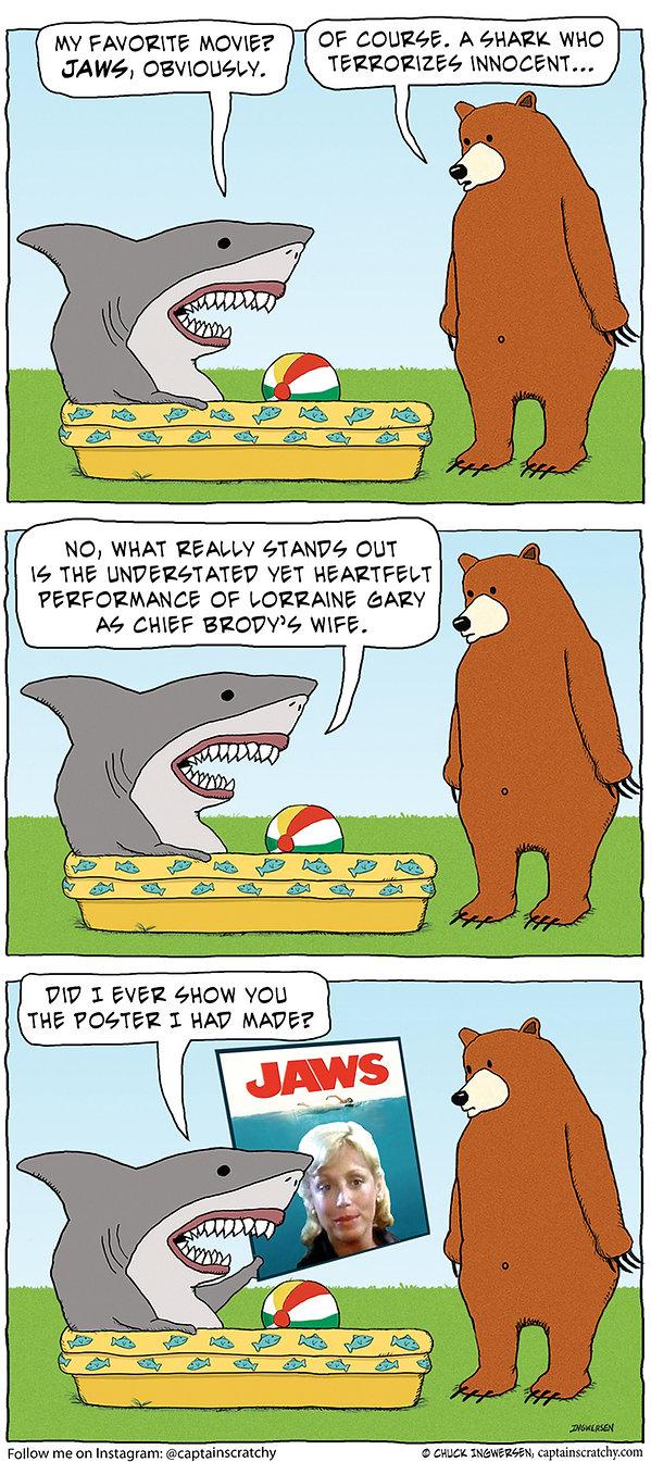 funny shark and bear Jaws cartoon