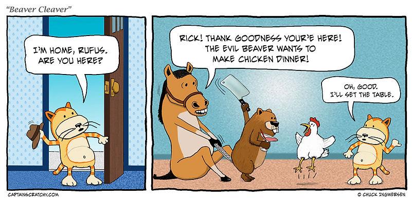 funny chicken for dinner cartoon