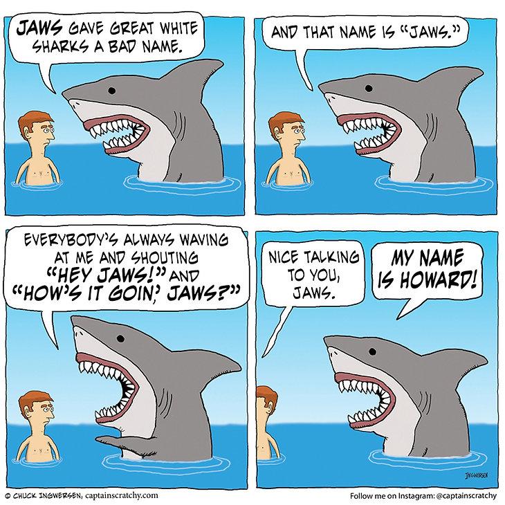 funny hungry yawning shark cartoon