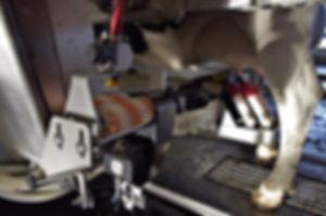 Robot milker scanning the udder