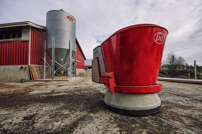 Dairy barn exterior with lely vector automatic feeding system