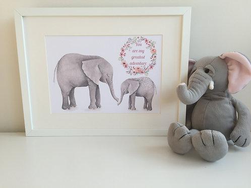You are my greatest adventure unframed print - Elephants