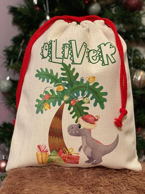 Dinosaur Chistmas sack