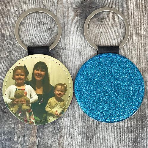 Glitter circle PU leather photo keyring