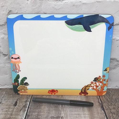 Sea life dry wipe board and pen