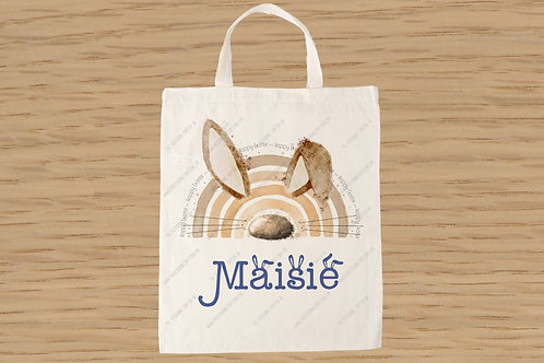 Blue Easter bunnybow mini tote bag