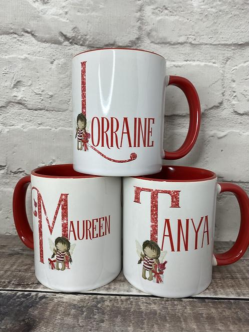 Christmas fairy girl initial mug