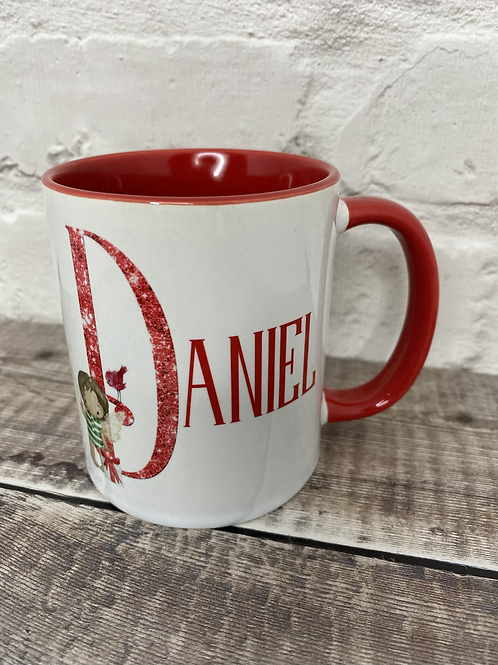 Christmas fairy boy initial mug