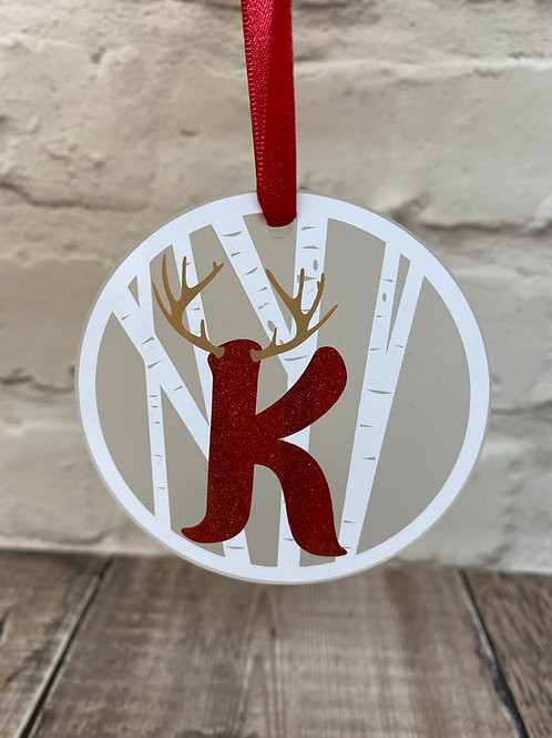 Reindeer initial frosted disc