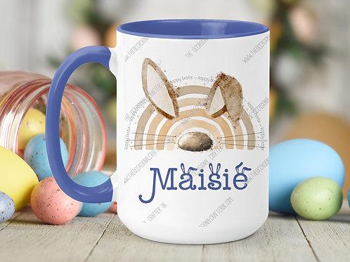 Easter bunny bow blue mug