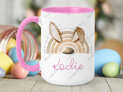Easter bunny bow pink mug