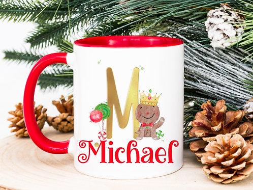 Gingerbread man initial mug