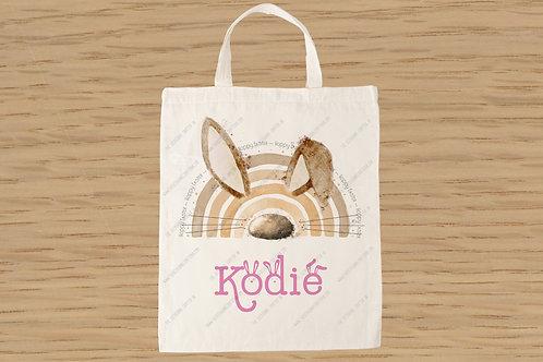 Pink Easter bunnybow mini tote bag