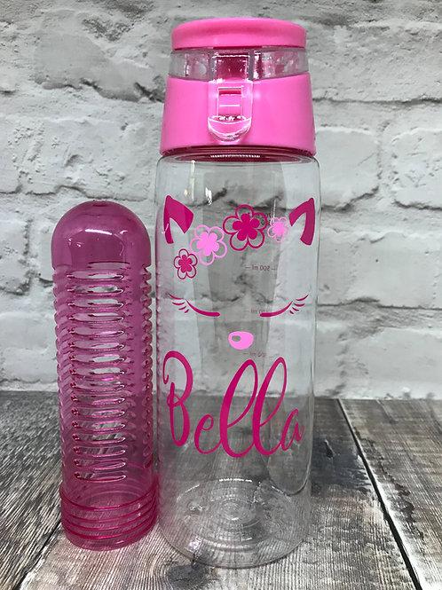 Pink fruit infuser water bottle various designs