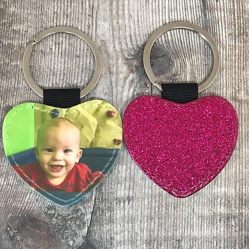 Glitter heart PU leather photo keyring