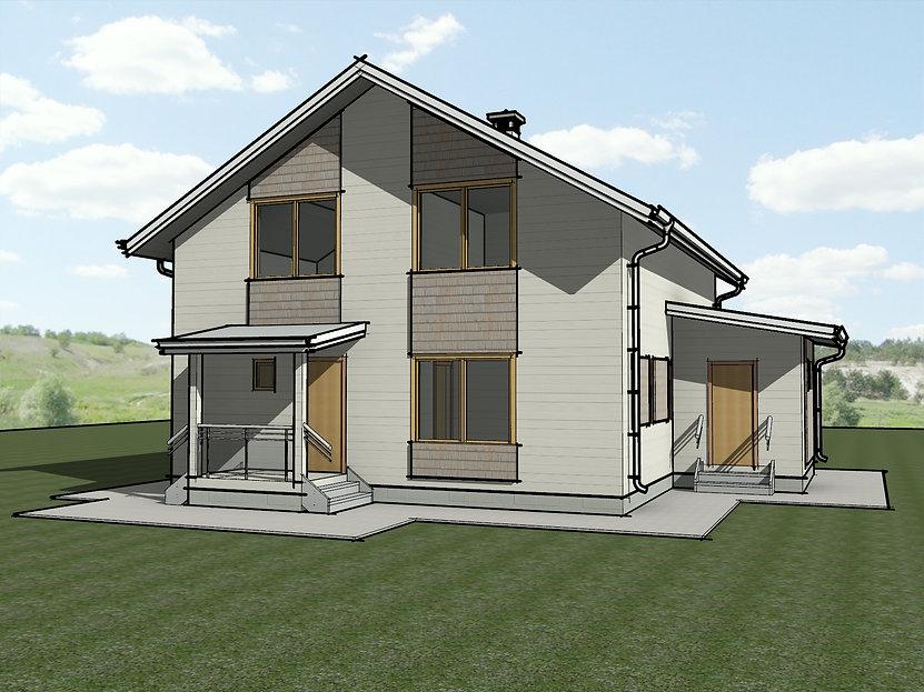 Проект каркасного дома с мансардой 9х10 метров