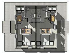 Планировка каркасной миниостиницы 6х6
