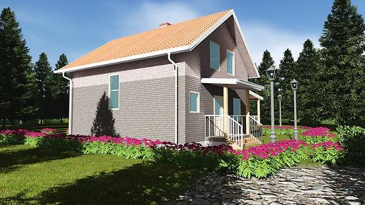 Общий вид каркасного дома 8х9,2