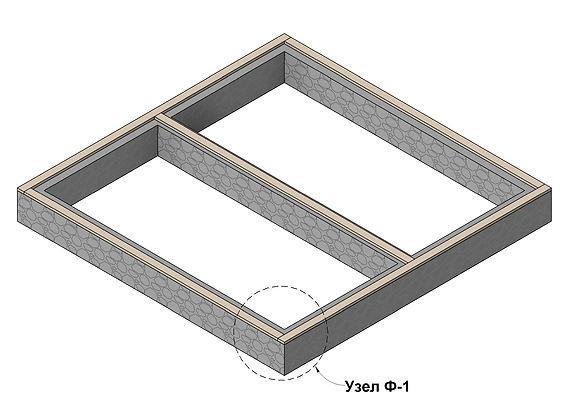 Общий вид укладки фундаментной доски(лежня) каркасного дома