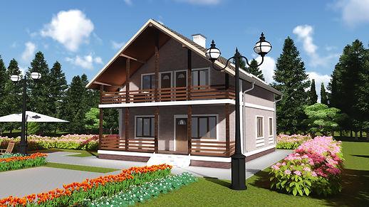Общий вид каркасного дома 9х11