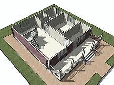 3D вид каркасного дома 9х11