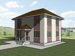 Общий вид каркасно-щитового дома 11х8,5