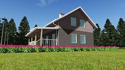 3D вид каркасного дома 8х9 метров