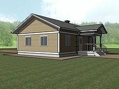 3D вид каркасного дома 8х12
