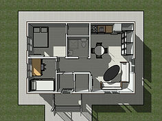 3D вид первого этажа каркасного дома 6х9