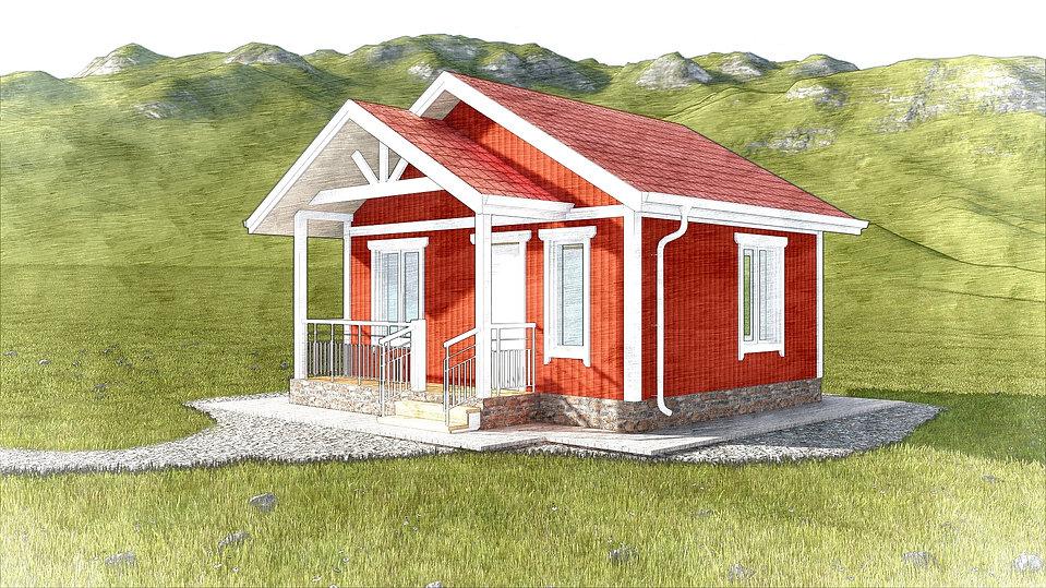 Проект каркасного дома с мансардой 6х6 метров