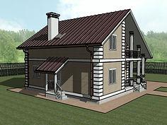 3D вид каркасного дома 10х10 метров