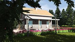 3D вид каркасного дома 8х9,2