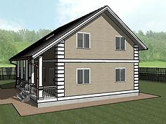3D вид каркасного дома 10х10