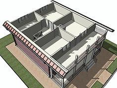 3D вид каркасного дома 9х11 метров