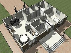 3D вид каркасного дома 8х12 метров