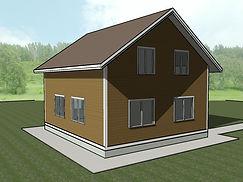 Общий вид каркасного дома 9х8