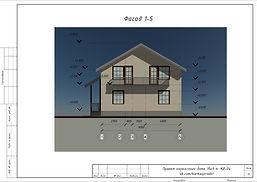 Фасад 1-5 каркасного дома 9х10