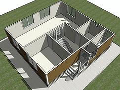 3D вид первого этажа каркасного дома 9х8