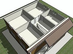 3D вид второго этажа каркасного дома