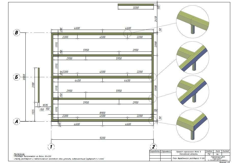 План деревянного ростверка из доски