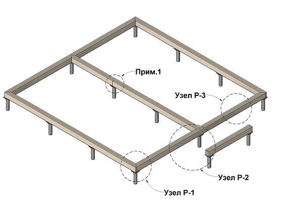 Общий вид деревянного ростверка каркасного дома