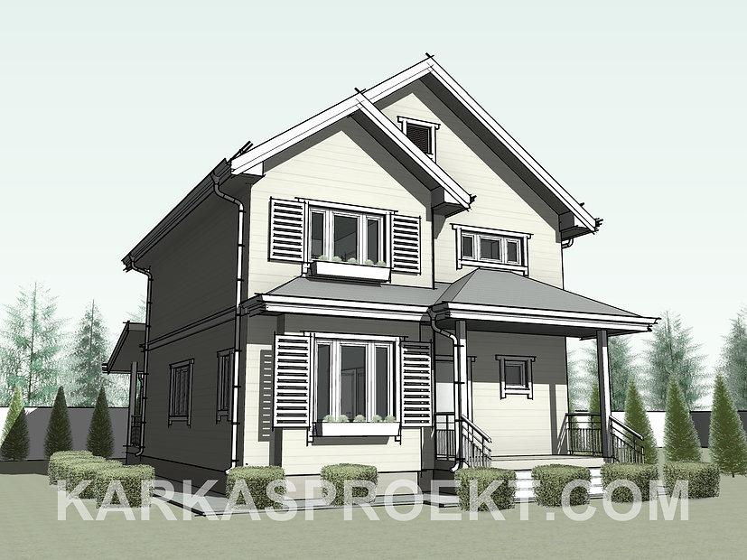 Проект двухэтажного каркасного дома 8х10,2 метров