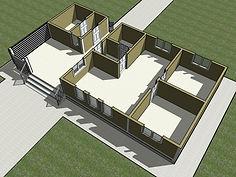 3D вид первого этажа каркасного дома 7Х13