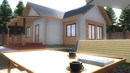 Общий вид каркасного дома 9х12